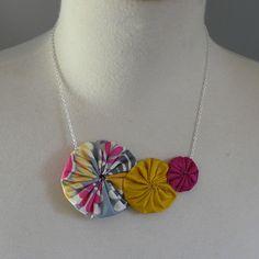 gerbera-cotton and silk yo-yo necklace