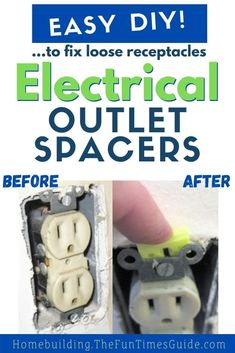 Here's an easy fix for loose outlets... DIY electrical outlet spacers! Have you noticed loose wall outlets in your house? Or… if you're remodeling a room, chances are you're going to need electrical outlet spacers on your receptacles. They take just a minute to install right over your existing electrical wiring. The result is a smooth, professional finish on the wall and no more loose outlets! Here's how to do it yourself. Diy Home Crafts, Adult Crafts, Fun Crafts, Crafts For Kids, Electrical Outlets, Electrical Wiring, Spring Home, Autumn Home, Home Maintenance Schedule