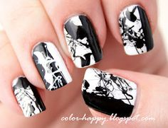 ~` black and white splatter nail art `~