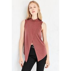 Silence + Noise Mock Neck Fly Away Tank Top (1.285 RUB) ❤ liked on Polyvore featuring tops, relaxed fit tops, mock neck tank top, red top, mock neck top and sleeveless tank