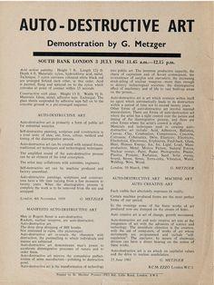 Gustav Metzger Auto-Destructive Art Action Painting, Deconstruction, Composition, Print Design, Packaging, Flyers, Editorial, Magazine, Classic