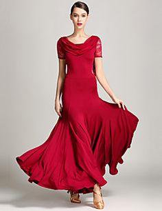 Ballroom Dance Dresses Women's Performance Lace Tulle Milk Fiber Pendant 1Piece/Set Short Sleeve Natural Dresses