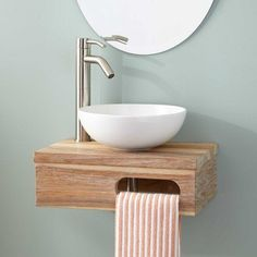 Dell Teak Wall Mount Vessel Vanity with Towel Bar No Drillings Gray Wash. The charming Dell Teak Wall-Mount Vessel Vanity is the perfect addition to a quaint bathroom. Bathroom Sink Bowls, Vessel Sink Vanity, Small Bathroom Vanities, Modern Bathroom Design, Small Bathrooms, Bathroom Designs, Bathroom Ideas, Teak Bathroom, Bathroom Makeovers