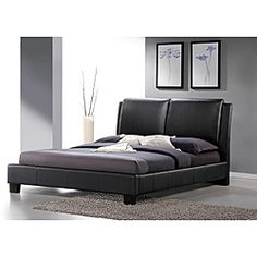 @Overstock.com - Sabrina Black Upholstered Queen Size Platform Bed - Black faux leather upholstery highlights this Sabrina Queen Size Platform Bed. This furniture features eco-friendly construction and foam padding on the headboard.  The design is clean and clear cut.  http://www.overstock.com/Home-Garden/Sabrina-Black-Upholstered-Queen-Size-Platform-Bed/6358725/product.html?CID=214117 $460.09