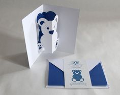 Carte Pop-up // Ours Bleu Foncé // Carte Papeterie par matpapershop
