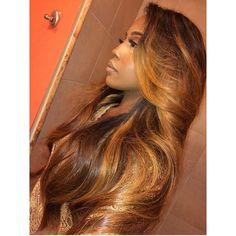 Love her hair color Weave Hairstyles, Pretty Hairstyles, Straight Hairstyles, Black Hairstyles, Curly Hair Styles, Natural Hair Styles, Color Del Pelo, Birthday Hair, Hair Laid
