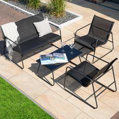 Sofa-Set Cuba (2 Sessel, 1 Sofa, 1 Tisch, schwarz) - Dänisches Bettenlager Outdoor Sofa, Outdoor Spaces, Outdoor Furniture Sets, Outdoor Decor, Petites Tables, Lounge, Sofa Set, Garden Design, Flat