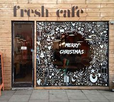 Mural / Wall Art / Chalkboard Art Design Inspiration for coffee house / cafe - Holiday / Seasonal Decorations Christmas Window Display, Christmas Window Decorations, Christmas Store, Noel Christmas, Christmas Window Paint, Christmas Windows, Cama Design, Store Window Displays, Display Window