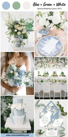 Blue green and white spring wedding color combinations inspirations baby blue runner, bridal bouquet with blue flowers, blue cards holder and wedding cake, paired with little green plants… Baby Blue Wedding Theme, Pastel Blue Wedding, Baby Blue Weddings, Blue White Weddings, Blue Wedding Flowers, Blue Flowers, Spring Wedding Colors Blue, Green Weddings, Blue Orchids