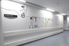 Peepshow image makers Andrew Rae and Chrissie Macdonald have collaborated to create a mixed media installation designed to engage children as they travel from ward to operating theatre at a London hospital… Medical Design, Healthcare Design, Interior Walls, Interior Design, Modern Interior, Office Branding, Identity Branding, Corporate Identity, Visual Identity