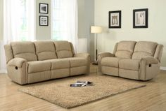 2 pc Esther collection beige chenille fabric upholstered double reclining sofa and love seat set. This set features a sofa with a recliner on each end and a love seat with a recliner on each end. The Esther Collection provides you and your family a perfect spot in your home to spend time together and relax. The reclining mechanism allows you to stretch out in maximum comfort. Covered in beige or dark brown chenille, the collection is soft to the touch and inviting in design.