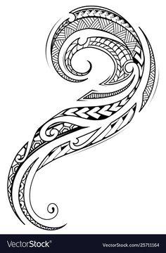 Maori style tattoo design vector image on VectorStock Tribal Hip Tattoos, Maori Tattoo Arm, Tribal Pattern Tattoos, Polynesian Tribal Tattoos, Tribal Tattoos For Women, Rune Tattoo, Polynesian Art, Hip Tattoos Women, Arm Band Tattoo