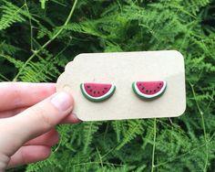 Watermelon fruit stud earrings handmade from polymer clay