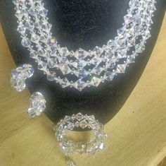 Necklace Earrings Bracelet Set Cut Glass AB Beads Vintage Wedding Bridal Jewelry Jewellery 1940s Hollywood Regency Waldorf Gift Guide Women