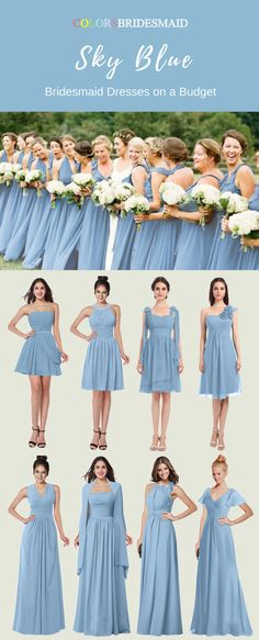 9b0777cfb2b Inexpensive Sky Blue Bridesmaid Dresses in Short and Long Styles