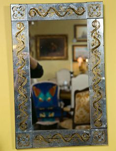 Pair of Vintage Eglomise Mirrors by Jansen image 5