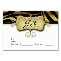 Salon Gift Card Spa Zebra Animal Gold Black Business Card Template. This is a fully customizable business card and available on several paper types for your needs. You can upload your own image or use the image as is. Just click this template to get started!