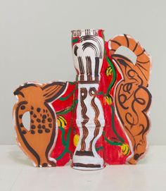 Betty Woodman~On the Way to Mexico, 2012  glazed earthenware, epoxy resin, lacquer, paint, canvas  34 × 35 × 9 inches (86 × 89 × 23 cm)