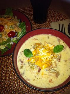 Amazing low carb Chicken bacon chowder soup. I substituted a few things to make it lighter & more heart healthy but sure is a perfect Fall meal <3