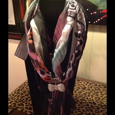 Scarf Multi colored printed scarf with crystal bow embellishment Accessories Scarves & Wraps