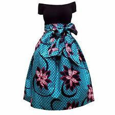 African Wax Print Ankara Midi Skirt with Sash and Pockets (Turquoise/Pink)