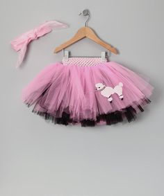 Take a look at this Hot Pink & Black 50s Poodle Skirt Tutu & Scarf - Infant, Toddler & Girls by Tutu Mania on #zulily today!