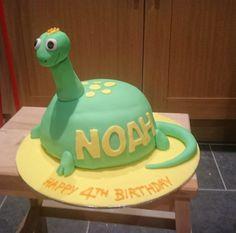 Noah's 4th Birthday cake for his dinosaur themed birthday party.