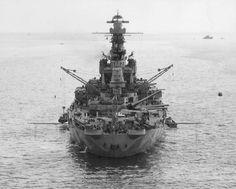 USS Indiana off Norfolk, Virginia, United States, 8 September 1942.