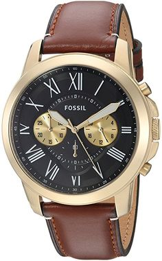 2573843ede96 Fossil Men s FS5297 Grant Chronograph Light Brown Leather Watch