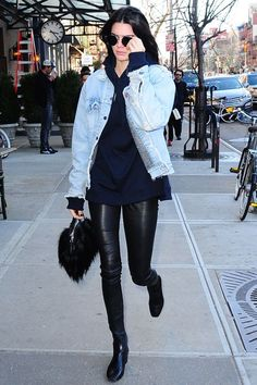 How To Take Your Street Style To The Next Level À La Kendall Jenner #refinery29  http://www.refinery29.com/2016/01/101361/kendall-jenner-style#slide-6  The denim jacket just got the upgrade we've been looking for....
