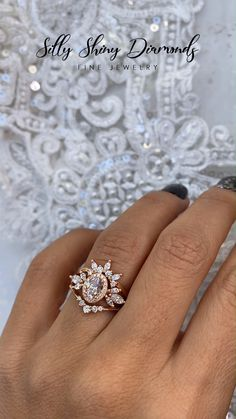 Start your happily ever after on a sweet note with this forever brilliant moissanite engagement ring set from Camellia Jewelry. Scrupulously handmade in fine detail, it is a unique moissanite wedding ring set that will show her how much you care without b Diamond Wedding Rings, Bridal Rings, Halo Diamond, Diamond Rings, Wedding Bands, Indian Wedding Rings, Disney Wedding Rings, Oval Rings, Bridal Crown