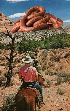 Meat Landscape. Large threatening sausage worm on the horizon.