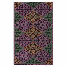 Handmade wool rug with a multicolor scrollwork motif.  Product: RugConstruction Material: 100% WoolColor: MultiFeatures: Hand-tufted Note: Please be aware that actual colors may vary from those shown on your screen. Accent rugs may also not show the entire pattern that the corresponding area rugs have.Cleaning and Care: These rugs can be spot treated with a mild detergent and water. Professional cleaning is recommended if necessary.