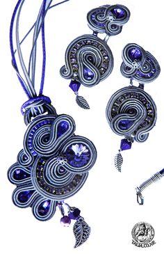 Soutache set earrings and pendant in Grey by caricatalia on DeviantArt Soutache Pendant, Soutache Earrings, Pendant Necklace, Beaded Jewelry, Handmade Jewelry, Shibori, Jewelery, Brooch, Beads