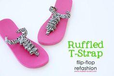 DIY Flip-Flop Refashion: Ruffled T-Strap