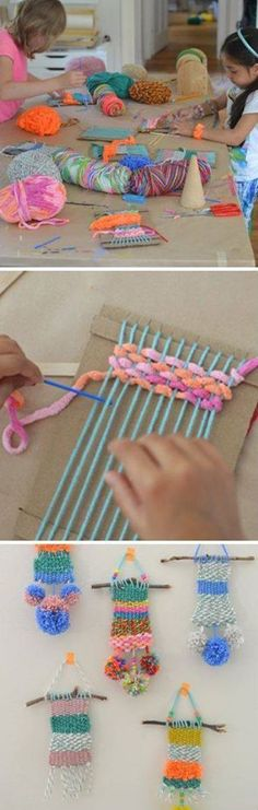 Recycled crafts for kids, crafts for children, diy crafts with yarn, yarn. Kids Crafts, Recycled Crafts Kids, Summer Crafts, Projects For Kids, Diy For Kids, Diy And Crafts, Arts And Crafts, Art Projects, Weaving Projects
