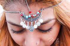 Bohemian Head Chain Headpiece Boho Head by myfashioncreations Chain Headband, Chain Headpiece, Boho Headpiece, Headdress, Hair Jewelry, Fashion Jewelry, Gypsy Jewelry, Boho Hairstyles, Wedding Hairstyles
