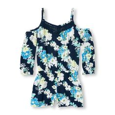 6fa9d7cd561 Girls Long Sleeve Floral Print Cold-Shoulder Woven Romper - Blue - The  Children s Place