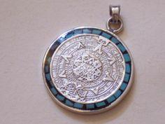 Legendary aztec calendar sun stone design by goodspiritwolf aztec gennuine solid 925 sterling silver aztec calendar pendant free us sh aloadofball Image collections