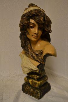 "Exquisite French Art Nouveau Bust of ""Le Vent"" by C. Hennecke Co. C. 1880-1900"