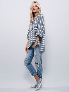 Sleeping In Shirt | Super comfy striped sleep shirt with button closures down the front and a bust pocket. Raw, unfinished trim and a high low hem with side vents.