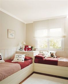 My twin sister I had a bedroom set similar to this configuration. It was fantastic! Small Room Bedroom, Dream Bedroom, Girls Bedroom, Bedroom Decor, Twin Girl Bedrooms, Magical Bedroom, Bedroom Ideas, Shared Bedrooms, Girl Bedroom Designs