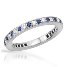 TIFFANY & Co. Platinum Diamond and Blue Sapphire Legacy Band Ring Sapphire Diamond, Blue Sapphire, Tiffany Co Rings, Platinum Ring, Band Rings, Jewelry Watches, Gemstone Rings, Wedding Rings, Engagement Rings