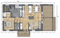 LATO 75 A - Kannustalo Home Projects, Tiny House, House Plans, Sweet Home, Floor Plans, Cabin, Windows, Flooring, How To Plan