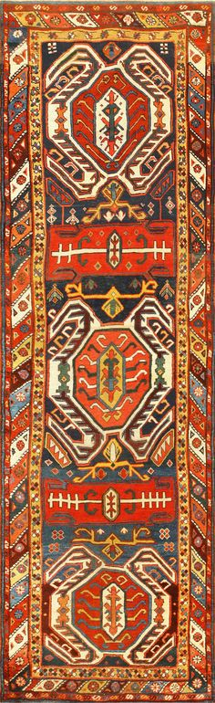 View this impressive and beautiful tribal design antique Caucasian Lankoran runner rug #48929 from the Nazmiyal Collection in NYC.