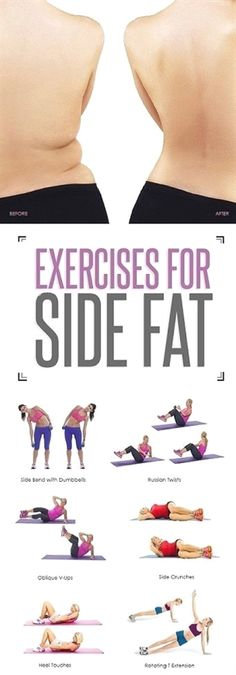 8 Simple and Effective Exercises To Reduce Side Fat #FitnessInspiration