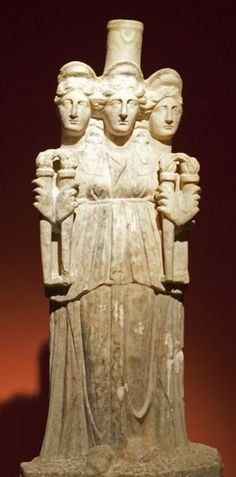 Statue of Triple Hecate - Roman marble, circa 3rd c. AD - at Museum of Antalya, Turkey