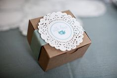 Use doilies as name places, tie them to napkins rather than box as shown here.  Use coloured doilies.
