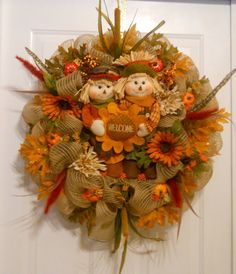 Scarecrow Wreath, Welcome Wreath, Fall Wreath, Burlap Deco Mesh Wreath, Fall Decoration, Door Wreath via Etsy