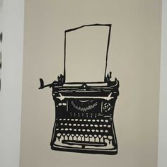 Vintage Antique Typewriter Linocut Block Print. $8,99, via Etsy.